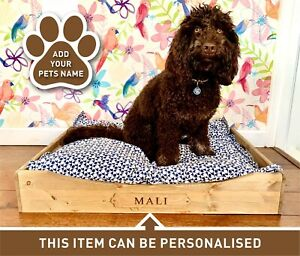 Personalised Rustic Wooden Dog Bed Puppy Crate Cat Bed Basket Gift (DBL)(EM)