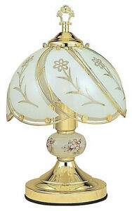 White Glass Floral On/off Touch Lamp, Brass finish  14in Height.
