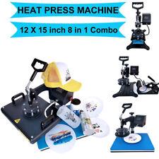 8 In1 Digital Heat Press Machine Combo Transfer Printing T Shirt Mug Hat 12x15