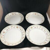 """Set of 4 ABINGDON Fine Porcelain China Rose 7-1/2"""" Soup Salad Bowls"""