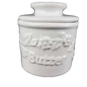 1997 The Original Butter Bell Crock L Tremain Pottery White Beurre Raised Floral