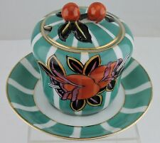 VINTAGE PORCELAIN JAM CONDIMENT JAR/LID TEAL/GREEN,ORANGE BERRY/FLOWER & PLATE