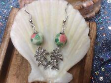 Palm tree charm with Flowered Clay bead dangle handmade earrings