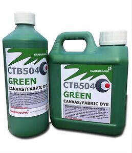 Green convertible roof hood Canvas Dye reviver restores colour to fabrics 500 ml