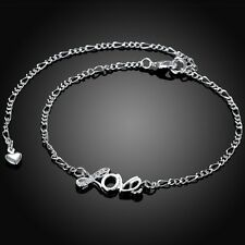 Bracelet Adjustable Free Gift Bag Sterling Silver 925 Love Crystal Anklet