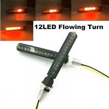 12V Yellow Super Bright 12LED Flowing Motorcycle Turn Signal Indicator Light Bar