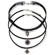 3Pcs Womens Gothic Style Black Lace Choker Rhinestone Pendant Necklace Set