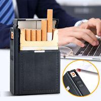 USB Metal Cigarette Case Storage Holder 20 Cigarettes Holds Pocket Box+Lighter