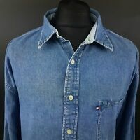 Tommy Hilfiger Mens Vintage DENIM Shirt 2XL Long Sleeve Blue Regular Fit Cotton