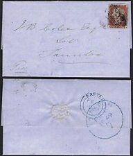 1849 1d Red Pl 82 PA Exeter to Taunton superb early TAUNTON SKELETON in blue