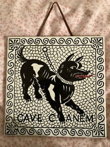 Ceramic Tile Wall Hanging Cave Canum Beware The Dog