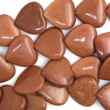 """20mm goldstone heart beads 15"""" strand"""