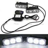 2X 3LED White Car DRL Daytime Running Light Remote Control Strobe Flash Warning