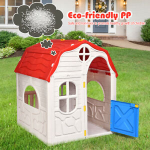 Toddler Kids Cottage Playhouse EASY ASSEMBLY Folding Indoor /Outdoor Play House