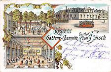 Gruss aus Gablenz - Chemnitz Gasthof zum Hirsch, Strassenbahn Lithographie 1904
