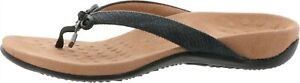 Vionic Leather Thong SandalsBow Bella II Woven Black 7M NEW A375234