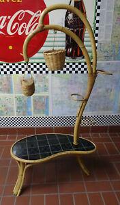 Rockabilly 50s vintage bambus flower stand Großer Blumenständer 50er