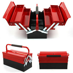 New 3 Tier 5 Tray Heavy Duty Professional Metal Storage Cantilever Tool Box UK