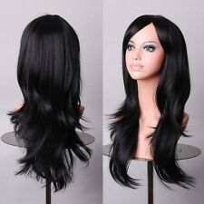 Long Wavy Cosplay Black Purple White Red Pink Blue Blonde Orange Sliver Gray Wig