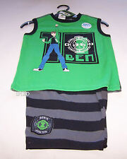 Ben 10 Alien Boys Green Black Printed 100% Cotton Pyjama Set Size 4 New