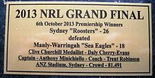 NRL SYDNEY ROOSTERS 2013 Premiership Winner Gold Plaque