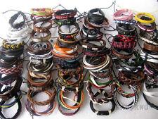 Wholesale lots 30pcs Mixed Style Surfer Cuff Ethnic Tribal Leather Bracelets