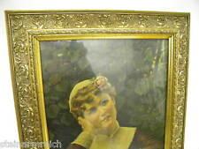 66x47cm GOLDRAHMEN STUCKRAHMEN Leiste ca1900 Bild mit Druck Mädchen Rose im Haar