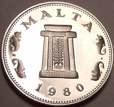 Rare Cameo Proof Malta 1980 5 Cents~Temple Of Hagar Qim~Only 3,451 Minted~Fr/Shi