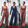 Women Polka-dot V-neck Loose Jumpsuit Long Sleeve Casual Autumn Siamese Trousers