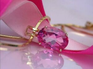 3Ct Oval Cut Pink Tourmaline Solitaire Pendant 14K Rose Gold Finish Free Chain