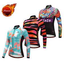 Women's Long Sleeve Fleece Cycling Jersey Winter Thermal Bike Bicycle Shirts Top