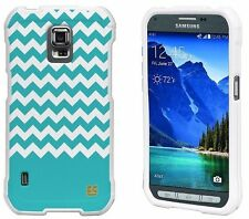 For Galaxy S5 ACTIVE Protector Snap On Cover Case Teal Chevron