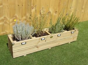 Garden Herb Planter - Wooden Decking Treated Patio Pot Window Box with Caps