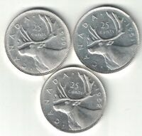 3 X CANADA 25 CENTS QUARTERS KING GEORGE VI SILVER COINS 1950 1951 1952
