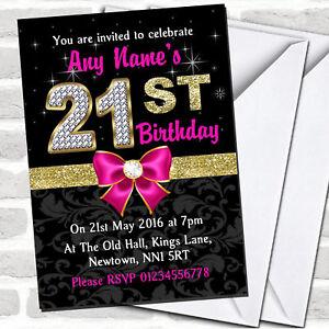 Pink Black Gold Diamond 21St Birthday Party Invitations
