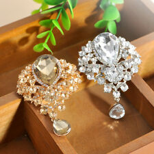 New Fashion Lady Gold Large Drop Pendant Crystal Grace Rhinestone Brooch Wedding