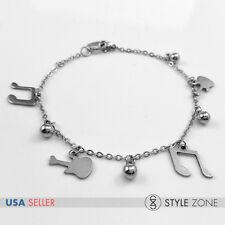 Women Stainless Steel Musical Notation Guitar Ball Charm Link Chain Bracelet B79