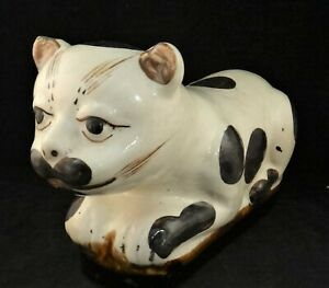 """Large Antique Chinese Cizhou Pottery Cat form Pillow, Brown & White, 13 ½"""""""