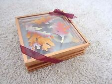 New Glass Coaster Set of 4 Autumn Fall Copper Foil Pressed Leaves Acorns