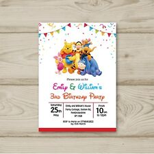 10 Personalised Winnie The Pooh Children Birthday party invitations