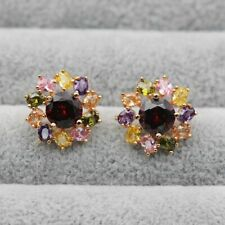 18K Yellow Gold Filled Earrings Women rainbow Big flower Ear Stud Party Boho HB