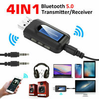 Bluetooth 5.0 Transmitter Receiver  Wireless Audio 3.5mm USB Aux 4 IN 1 Adapter
