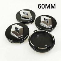 4x 60mm Renault Alloy Wheel Centre Caps Hub Cover Black