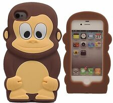Marron Cheeky Monkey Silicone Souple étui pour Iphone 4 / 4S
