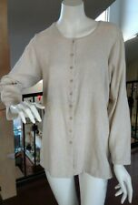 Eileen Fisher Beige Button Down Top Long Sleeve Shirt Jacket 100% Cotton S/M