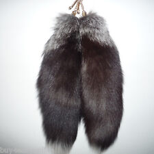"Super Large Fox Tail Keychain Fur Tassel Bag Tag Charm 16""-18"" Handbag Accessory"