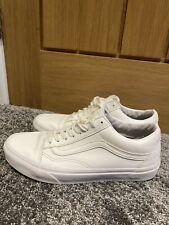 Mens White Leather Vans Fit Womens Size 7 Or 7.5