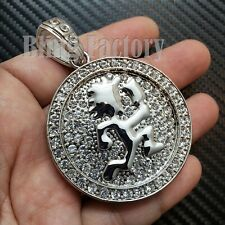 HIP HOP ICED BUST DOWN LAB DIAMOND SILVER PT LARGE HATCHET MAN RUNNER PENDANT