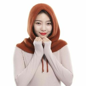 Hooded Neck Collar Cap Unisex Knitted Cashmere Head Thick Solid Color Adjustable