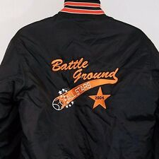 Baseball Mens Satin Bomber Jacket Vintage 90s Insulated Battle Ground Size Small